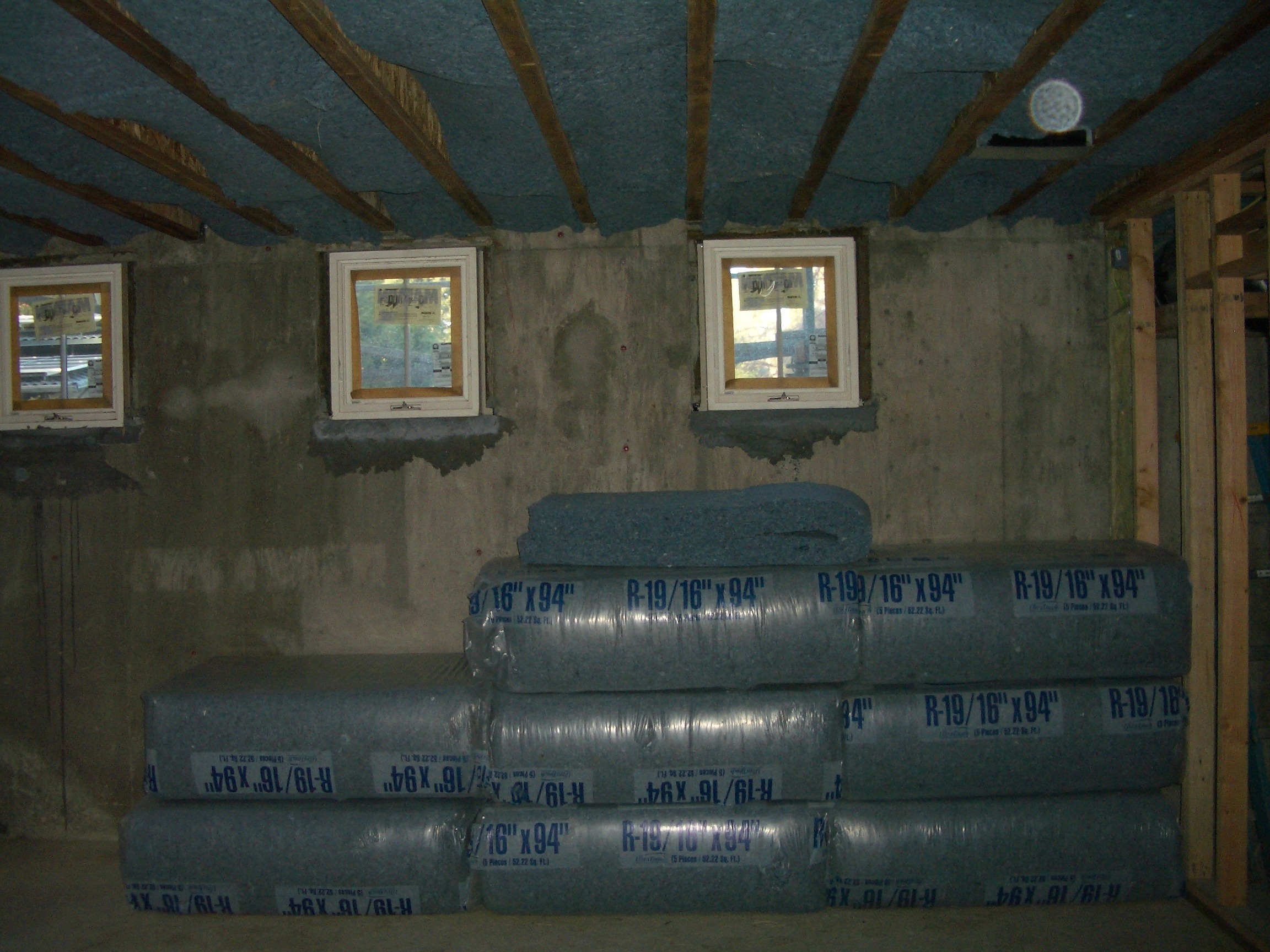 cotton batt insulation in basement bonus room ceiling