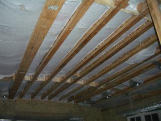 [Cellulose insulation in family room ceiling]